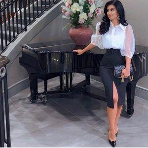 Zara Belted Pencil Skirt